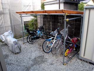 自転車の 物置 自転車収納 diy : ... 自転車置き場を単管で作って